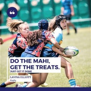 Picture showing lavina holding a rugby ball used as sponsorship photo